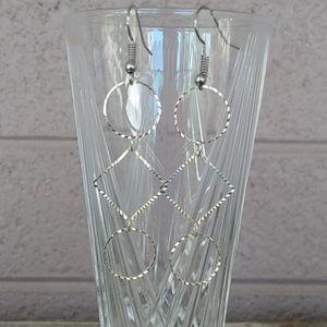 Trendy Diamond Cut Square and Circle Earrings